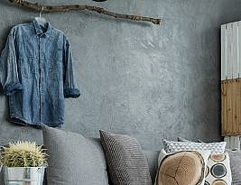 Modern Flat With Touch Of Creativity and Gray Patterned Walls